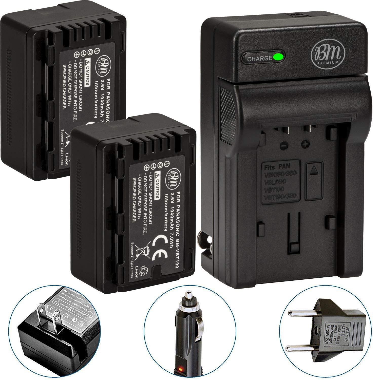 BM Premium 2-Pack of VW-VBT190 Batteries and Battery Charger for Panasonic HC-V800K, HC-VX1K, HC-WXF1K, HCV520, HC-V550, HCV710, HCV720, HC-V750, HC-V770, HC-VX870, HC-VX981, HC-W580, HC-W850, HCWXF99 by BM Premium