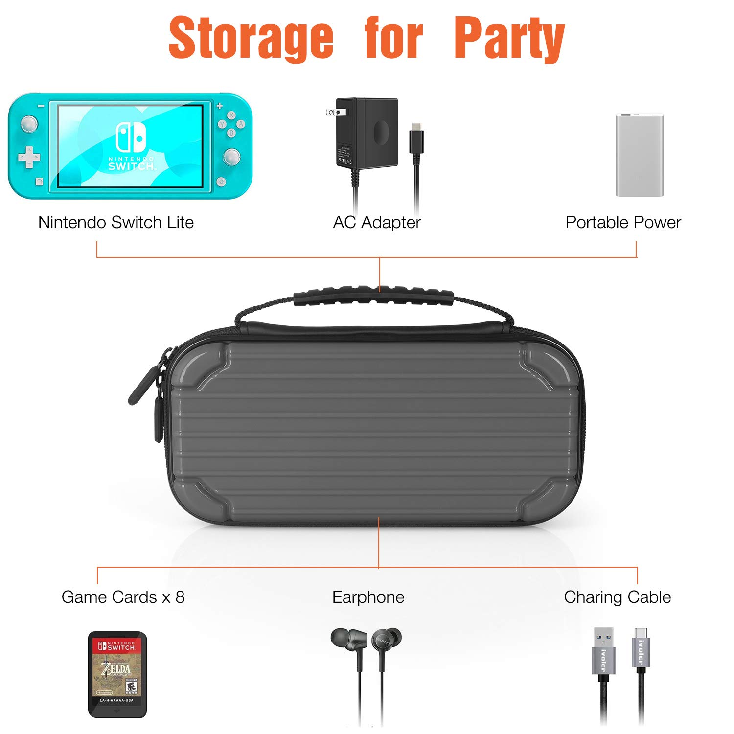 Carrying Case for Nintendo Switch Lite, Tempered Glass Screen Protector Soft Lining Hard Shell Travel Game Bag with 10 Game Card Slots for Switch Lite (Gray)