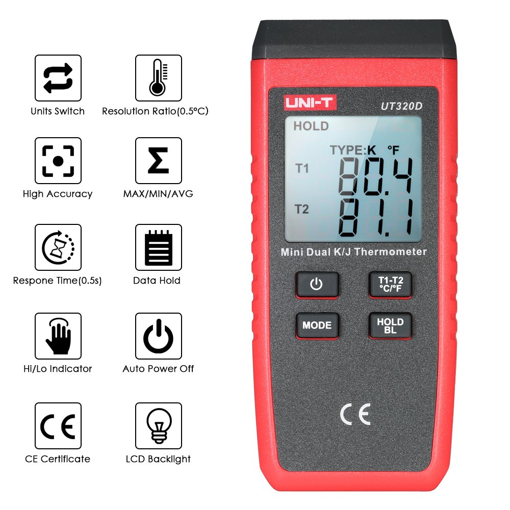 UNI-T UT320D Mini LCD Digital Thermometer 2-Channel Type K/J Thermocouple Sensor -50~1300°C/-58~2372°F Data Hold Function by UNI-T (Image #6)