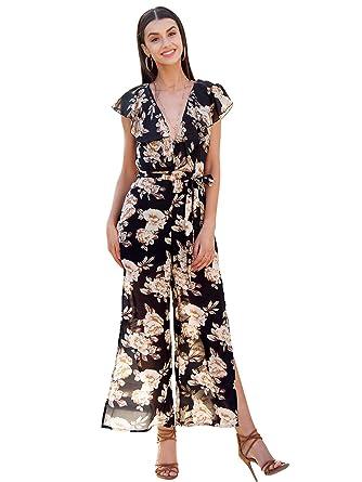 ec94adbcf02e2 Simplee Women Elegant V Neck Ruffle Chiffon Floral Print Wide Leg ...