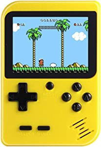 TTSAM Handheld Games Console for Kids Adults Retro FC Video Games Consoles 3 inch Screen 400 Classic Games Player with AV Cable Can Play on TV (Yellow-New)