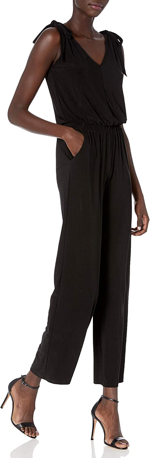 Laundry by Shelli Segal Women's Matte Jersey Shoulder Tie Jumpsuit