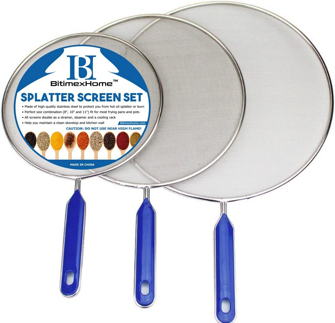 """Grease Splatter Screen For Frying Pan Cooking - Stainless Steel Splatter Guard Set of 3-8"""", 10"""" and 11"""" inch - Super Fine Mesh Iron Skillet Lid- Hot Oil Shield to Stop Prime Burn (3, 8"""",10"""",11"""")"""