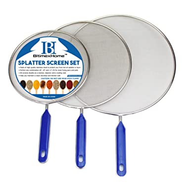 Grease Splatter Screen For Frying Pan Cooking - Stainless Steel Splatter Guard Set of 3 - 8 , 10  and 11  inch - Super Fine Mesh Iron Skillet Lid- Hot Oil Shield to Stop Prime Burn