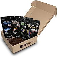 ☕ Café en grano natural. 100% Arabica. Pack para regalo y degustación. 4 orígenes: Colombia, Uganda, Brasil, Honduras…