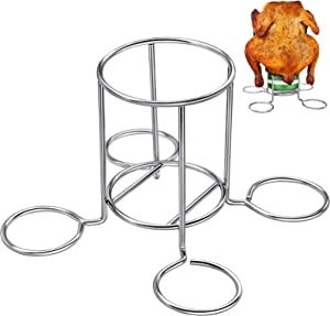 OVERTANG Beer Can Chicken Holder - Beer Can Chicken Rack, with Beer can Bottom Crossbar, Higher, More Stable Platform, Stainless Steel Beer Chicken Roaster for Grill Oven or Smoker