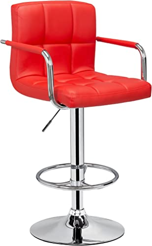 PU Leather Hydraulic Lift Adjustable Counter Bar Stool Dining Chair Red 150-2 Made By Jersey Seating