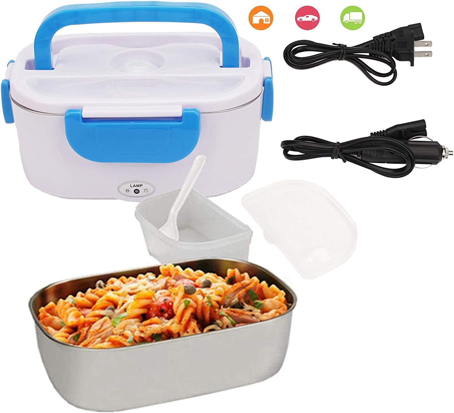 Electric Lunch Box For Toursion Portable Food Heater 110V & 12V 40W, 2 in 1 for Car/Truck and Work Removable Stainless Steel Portable Food Warmer 1.5L, Spoon and 2 Compartments Included -Blue