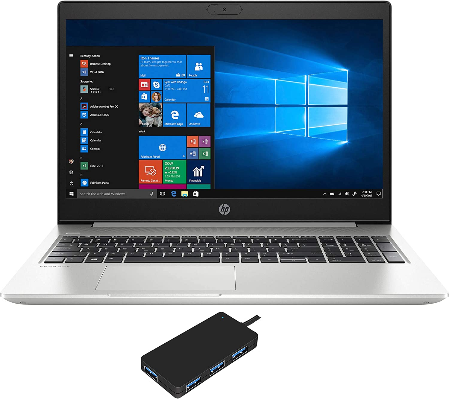 "HP ProBook 450 G7 Home and Business Laptop (Intel i5-10210U 4-Core, 16GB RAM, 512GB PCIe SSD, Intel UHD Graphics, 15.6"" HD (1366x768), WiFi, Bluetooth, Webcam, 2xUSB 3.1, Win 10 Pro) with USB Hub"