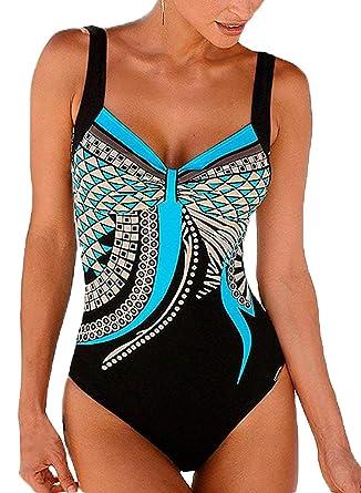 18655dc989ac Leslady Maillots de Bain Une pièce Femmes Imprimé Totem Monokini Amincissant  Slim Bikini de Sport Push