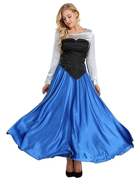 YiZYiF Disfraz Princesa Medieval Mujer Vestido Princesa Azul Falda ...
