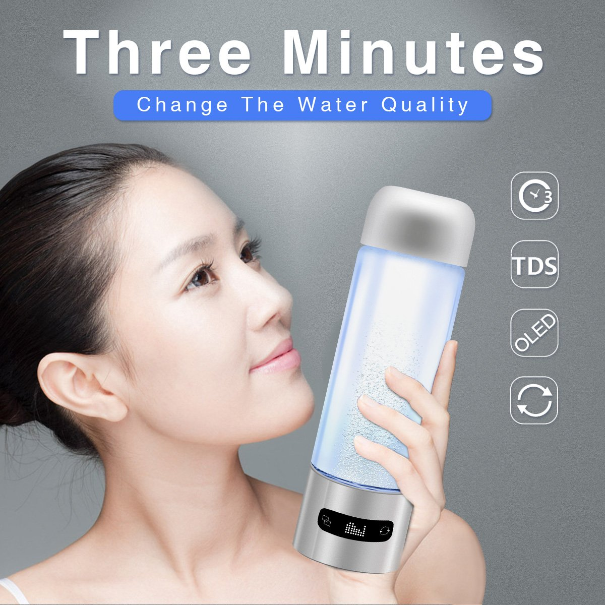 Hydrogen Water Bottle Ionizer Maker Touchscreen Hydrogen-Rich Water Bottle Cup Large Capacity 400ml for Sporting, Travelling Anti-aging MEILYLA by MEILYLA