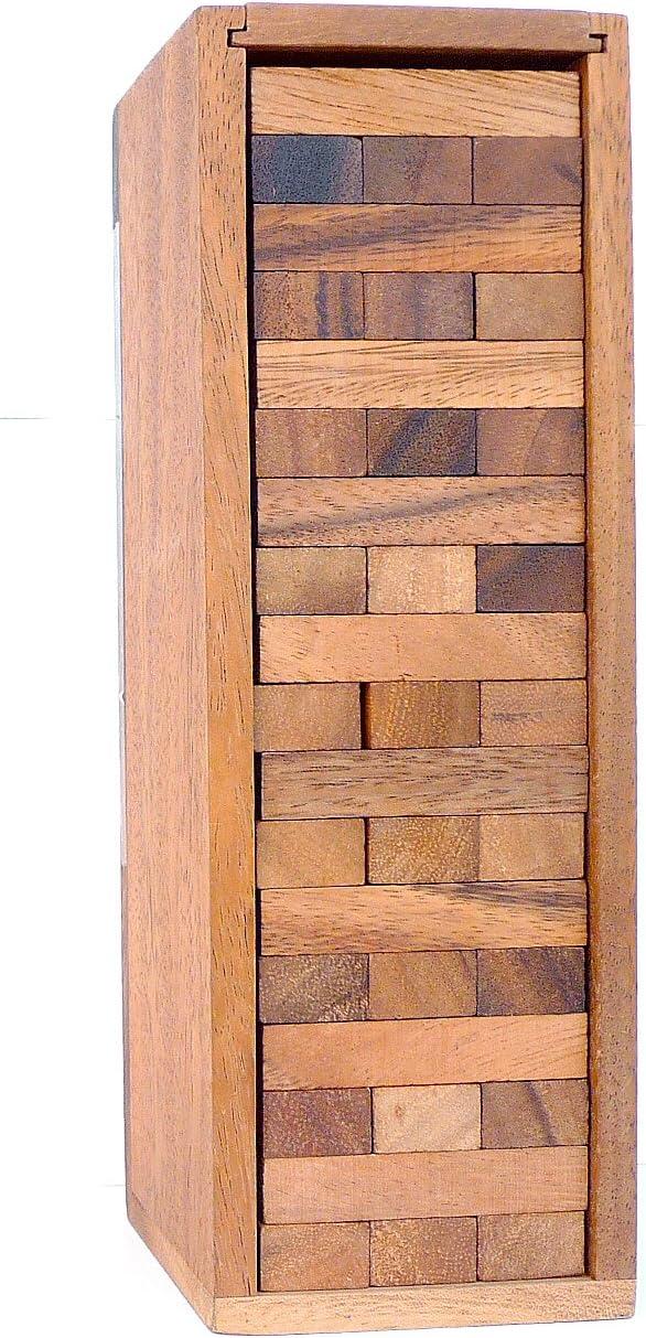 LOGICA GIOCHI Art. Condo – Torre con Piezas de Madera Extraíbles – Piezas de Madera de Teca con su Caja de Madera - Juego de Mesa (Medio)