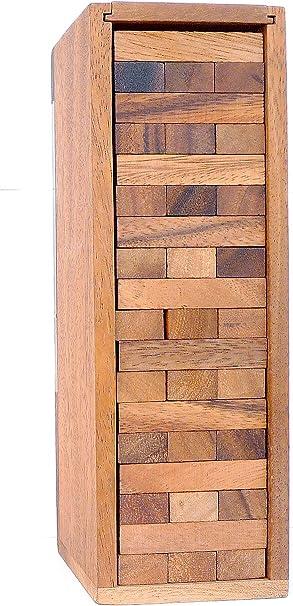 LOGICA GIOCHI Art. Condo – Torre con Piezas de Madera Extraíbles – Piezas de Madera de Teca con su Caja de Madera - Juego de Mesa (Medio): Amazon.es: Juguetes y juegos