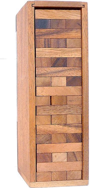 LOGICA GIOCHI Art. Condo – Torre con Piezas de Madera Extraíbles – Piezas de Madera de Teca con su Caja de Madera - Juego de Mesa (Grande): Amazon.es: Juguetes y juegos