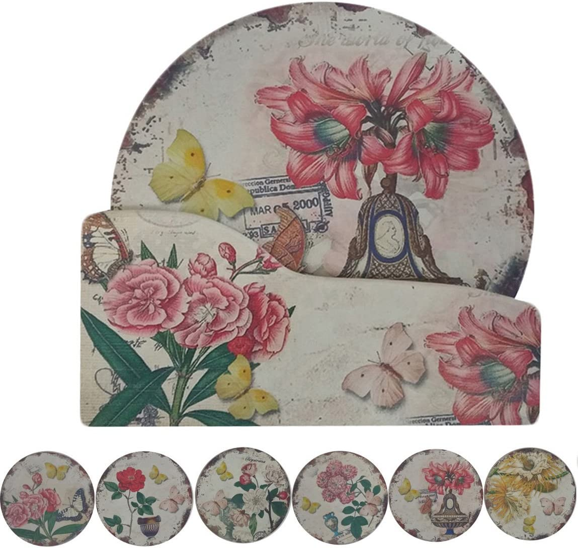 """NewFerU Cork Absorbent Coasters with Holder Decorative Round Heat Resistant Pad Mats Spoon Rest Trivet Set Table Runner Kit Large for 6 Drinks Hot Pans,Pots,Stovetop,Countertops (5.9"""" NO.6-Lily)"""