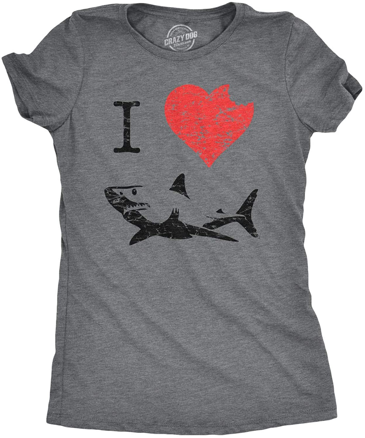 Womens I Love Sharks T Shirt Shark Bite Shirt Vintage Graphic Tee for Ladies