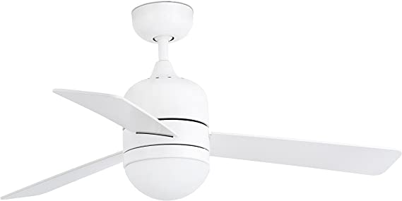 Imagen deFaro Barcelona 33606 - CEBU Ventilador de techo con luz, 40W, cuerpo de acero difusor de cristal opal y palas abs, color blanco           [Clase de eficiencia energética A]