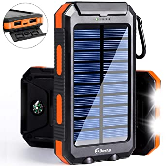 Solar Charger 20000m Ah Power Bank, Portable Charger Solar Phone Charger With 2 Usb Port 2 Led Light External Battery Pack For Emergency Travelling Camping, I Phone Android Cellphone Charging (Orange) by F.Dorla