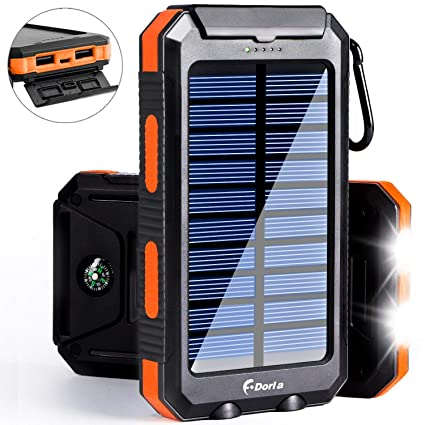 Solar Power Bank, F.DORLA Camping Solar Phone Charger 10000mAh Dual USB External Travelling Battery Pack with LED Lights Solar Panel Charging for ...