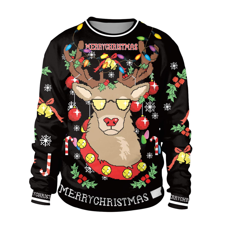 44a539ba81ab Amazon.com   KXIN Sweatshirt Christmas Elk 3D Print Black Women s Festival  Wind Leisure Jumpers Long Sleeve T-Shirt Sports Sweatshirt   Sports    Outdoors