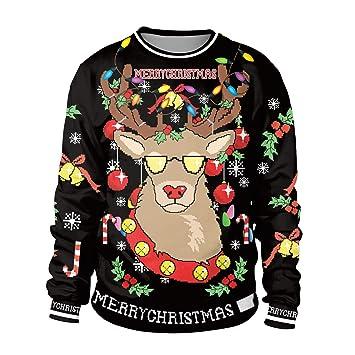 Zyx Unsiex Feo Navidad Jersey Sudaderas Volando Renos 3D Impresión Novedad Navidad Elfo Manga Larga Camiseta Hip Hop Pareja S-XL Negro: Amazon.es: Deportes ...