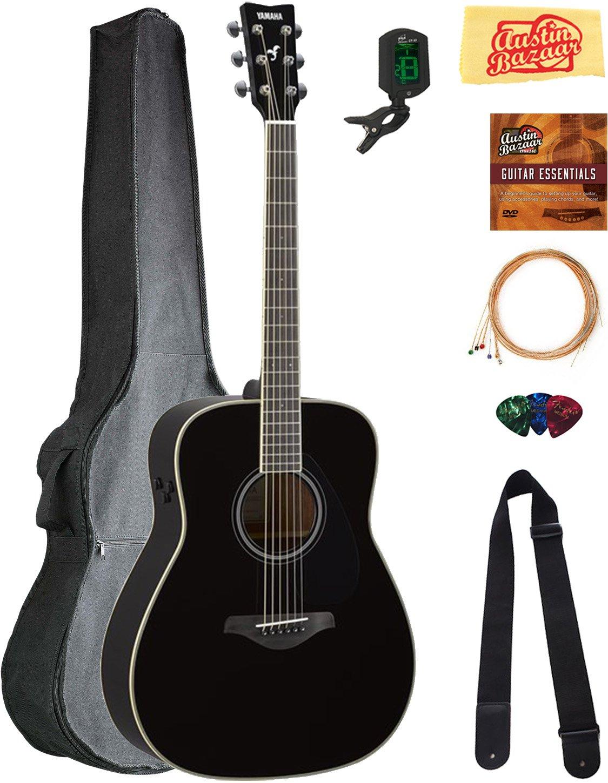 Yamaha FG-TA Transacoustic Guitar - Black Bundle with Gig Bag, Tuner, Strings, Strap, Picks, Austin Bazaar Instructional DVD, and Polishing Cloth by YAMAHA