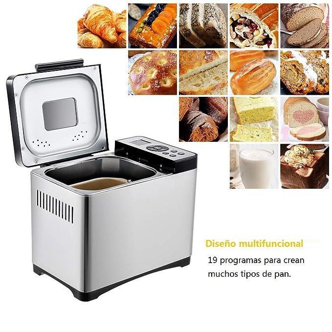 COSTWAY Máquina para hacer pan 650W Panificadora Acero inoxidable 500-1000g Pantalla 19 Programa: Amazon.es: Hogar