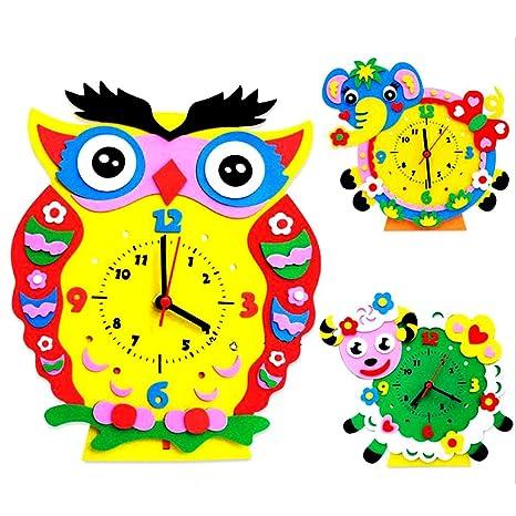 domybest DIY 3d reloj de espuma EVA juguete niños Kits de manualidades infantiles Puzzle juguete educativo