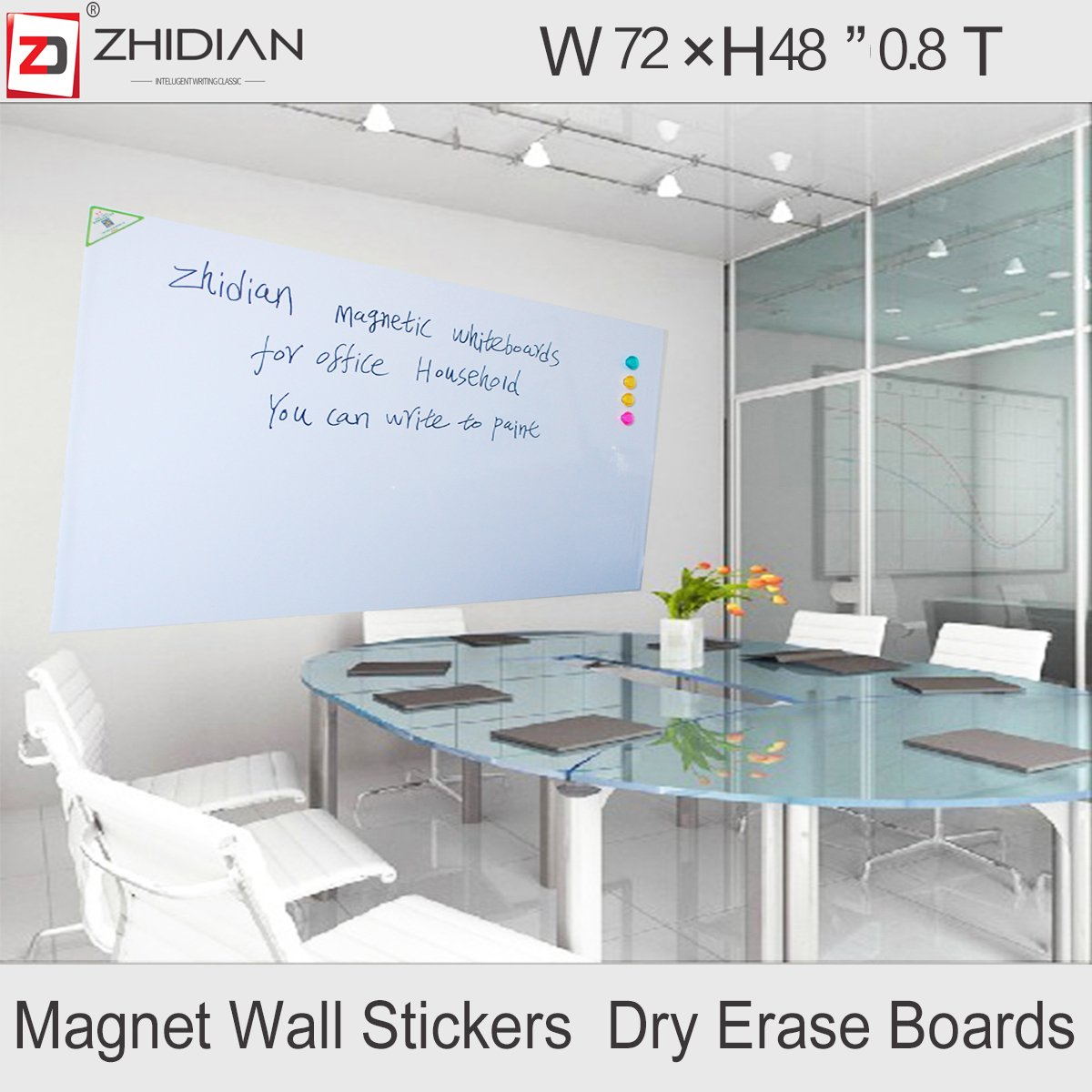 WallPops White Dry-Erase Message Board Decal Large Sticker Magnetic versatile addition home, classroom or office provides space make lists doodle write notes (72×48Inches, 0.8mm Thickness)