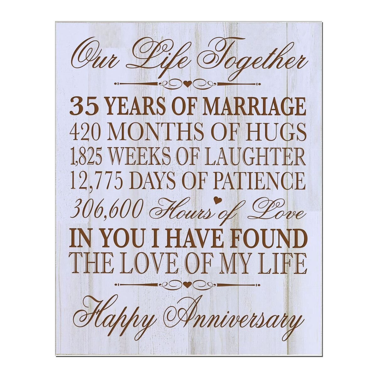 35th Wedding Anniversary Wall Plaque Gifts for Couple,custom Made 35th Anniversary Gifts for Her Wall Plaque Special Dates to Remember By LifeSong Milestones (Distressed White)