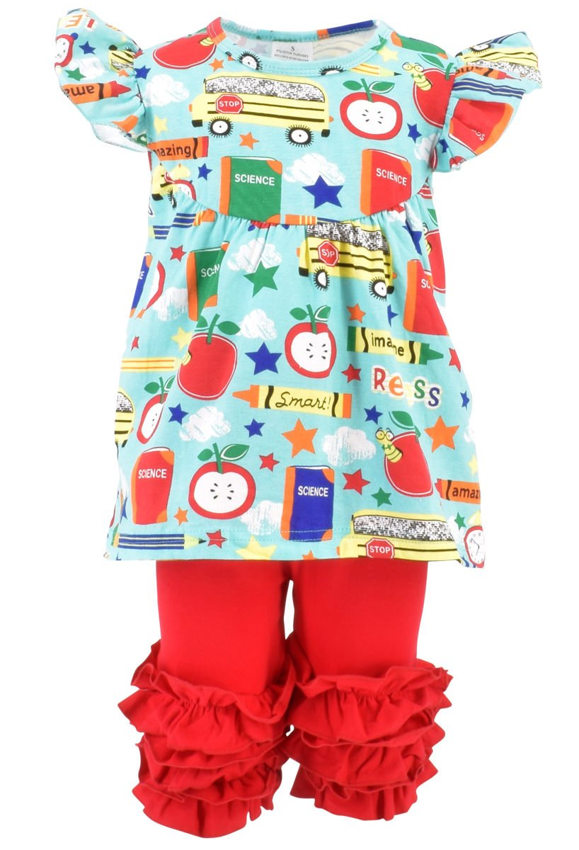 Unique Baby Girls Back to School Recess Tunic Boutique Outfit (5T/L, Blue)