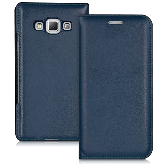 new product b1289 6fcb2 kwmobile Flip Case for Samsung Galaxy A3 (2015) - Book Style Protective  Front Flip Cover Smartphone Case - Dark Blue