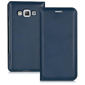 kwmobile Funda compatible con Samsung Galaxy A3 (2015) - Carcasa con [tapa tipo libro] - Case protector en [azul oscuro]
