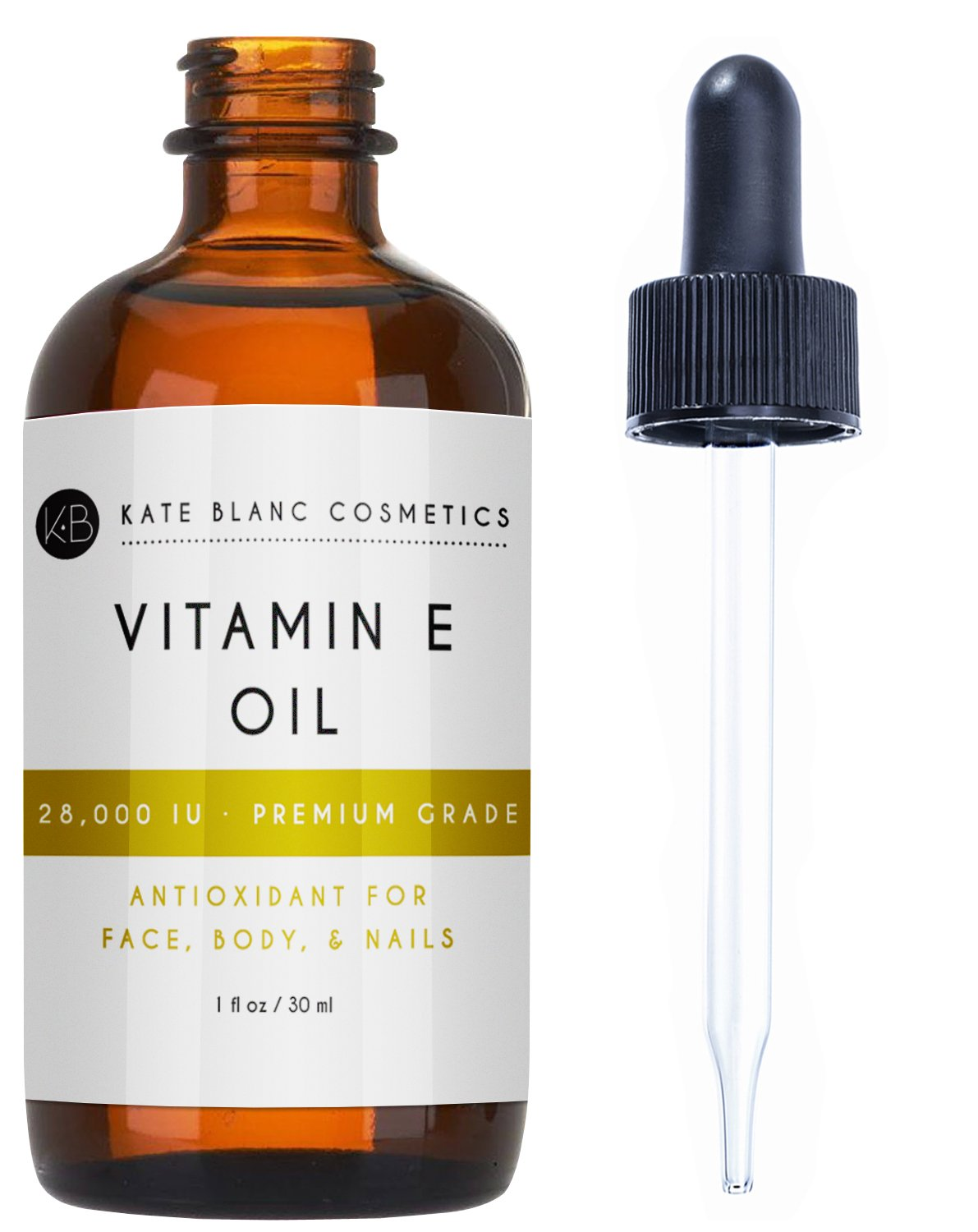 Vitamin E Oil by Kate Blanc. Moisturizes Face and Skin. Natural D-alpha Tocopherol. 100% Pure, Extra Strength. 30,000 IU. Reduce Appearance of Scars, Wrinkles, Dark Spots. 1-Year Warranty.