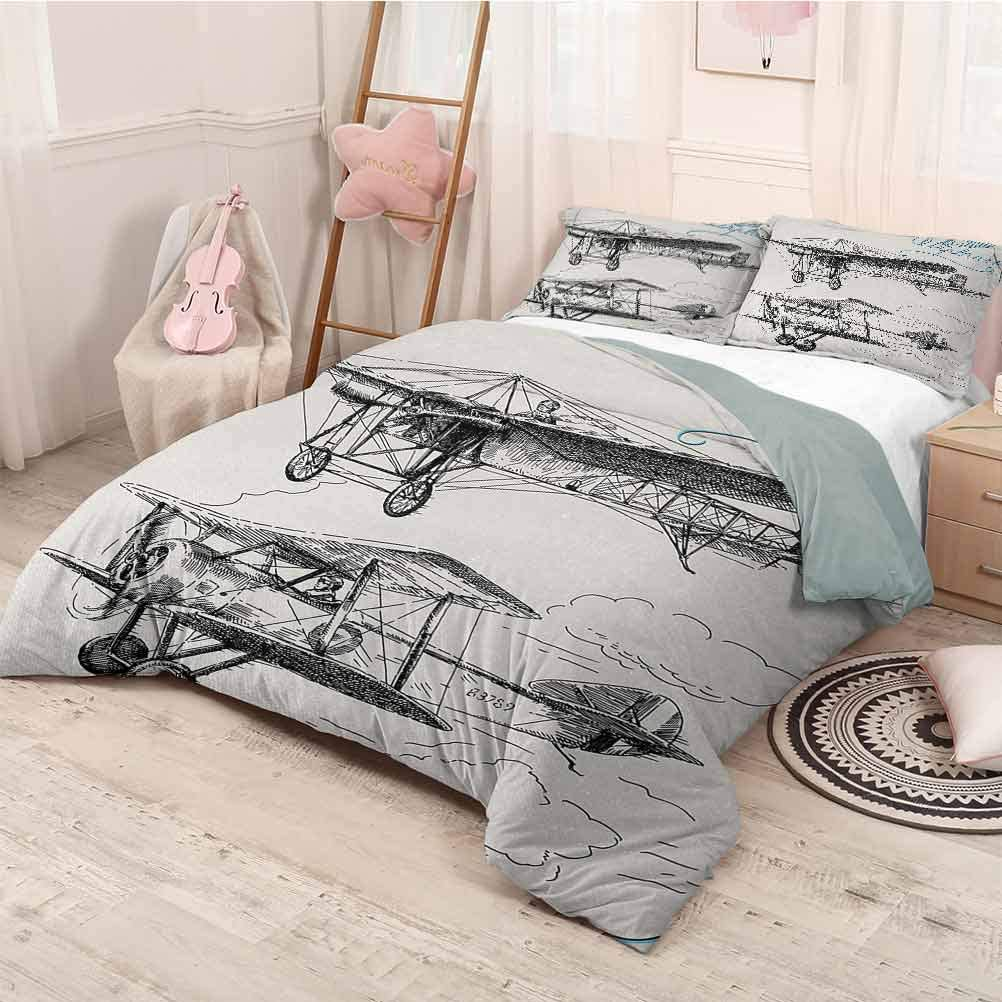 prunushome Airplane 3 Pieces Quilt Cover & Pillowcases Set Classic Nostalgic Planes Aircraft Propeller in The Sky Fast Travel Wings Sketch Comfortable Bedding Sets 3Pcs Piece Suit Blue Black Twin