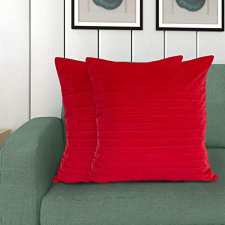 Home Centre Lynn Crushed Striped Cotton Cushion Cover   Red