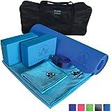 Yoga Set Kit 7-Piece 1 Yoga Mat, Yoga Mat Towel, 2 Yoga Blocks, Yoga Strap, Yoga Hand Towel, Free Carry Case for Exercises Yogis and Mom