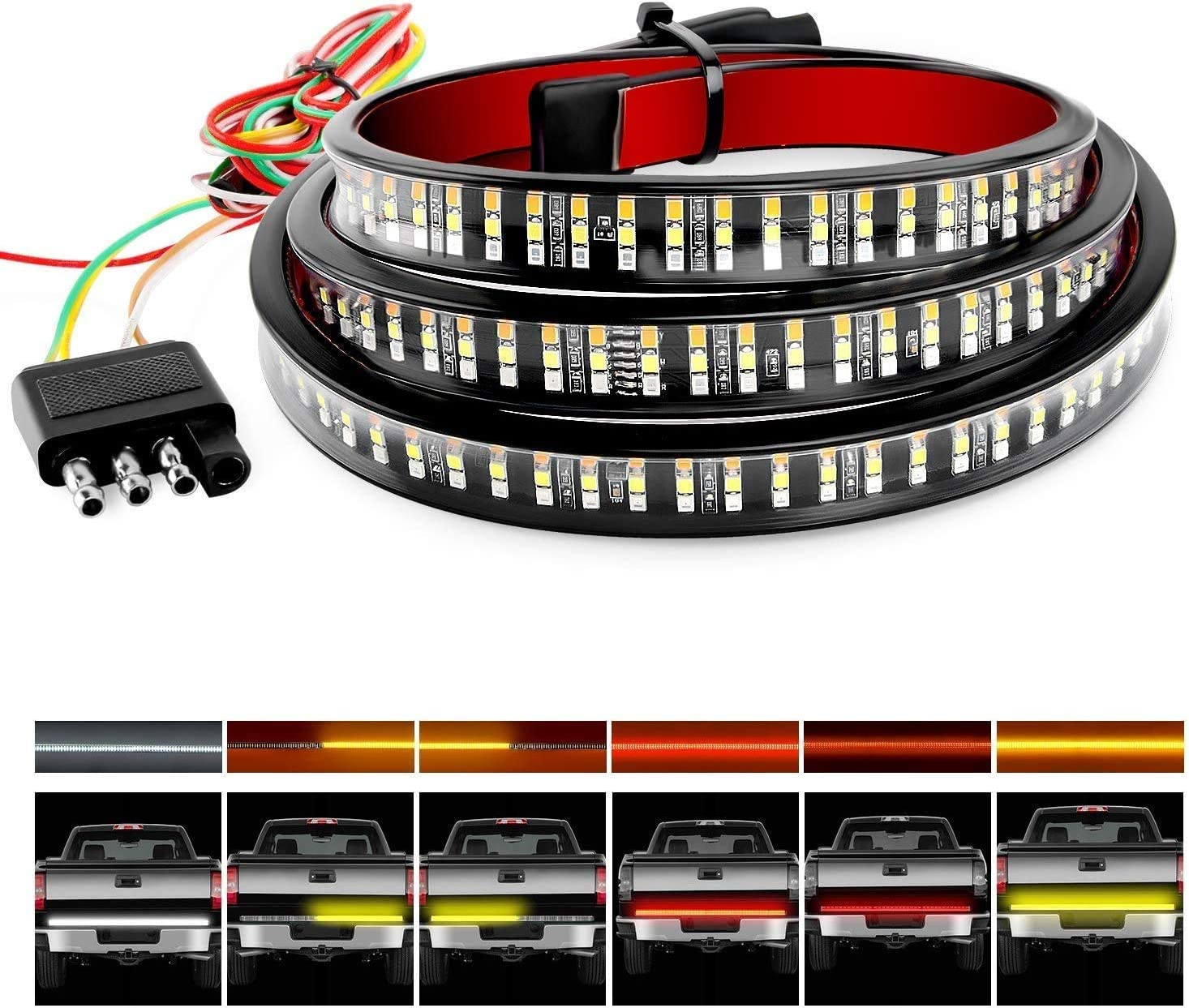 """HOCOLO 60"""" Triple 504 LED Tailgate Strip Light Waterproof w/ 4Way Flat Connector Wire-Solid Amber Turn Signal Red Brake Running White Reverse Bulb For Jeep GMC Ford Dodge Ram Pickup Truck RV SUV"""