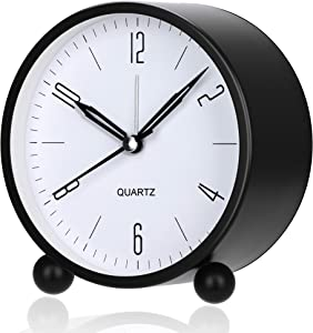 Outwit Alarm Clock, 4 Inch Round Battery Operated Analog Alarm Clock Silent Non Ticking, Easy Set and Night Light Function, Simple Stylish Design for Desk/Bedroom Gift Clock(Black)