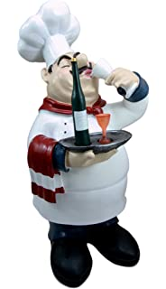 Atlantic Collectibles Chef Pierre Wine Tasting Expert French Bistro Statue Kitchen Decor Figurine 14 H