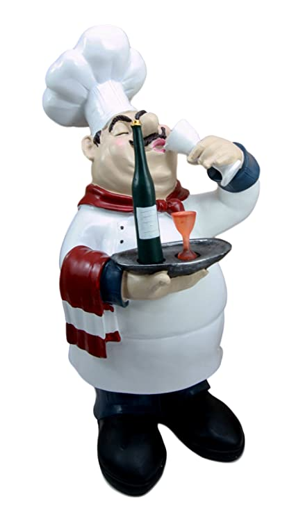 Chef And Wine Kitchen Decor Part - 19: Atlantic Collectibles Chef Pierre Wine Tasting Expert French Bistro Statue Kitchen  Decor Figurine 14u0026quot; ...