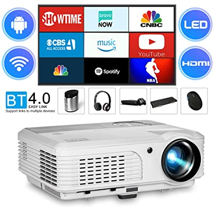 2018 LCD LED 3600 Lumen Android Bluetooth Video Projector Wxga Support Wireless Airplay Screen Cast with HDMI,USB,Composite Video,VGA Multimedia WiFi ...