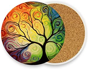 Kcldeci Tree of Life Coasters for Drinks 1 Piece Set Rainbow Tree Summer Spring Autumn Winter Cup Coaster Coffee Mug Glass Pad Tabletop for Table Kitchen Dining Home Decor