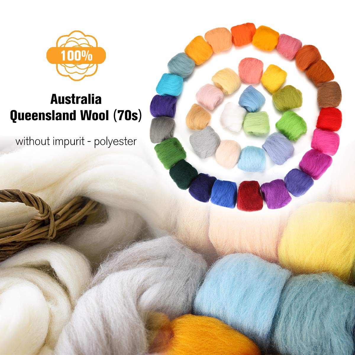 Jeteven 36 Colors Fibre Wool Yarn Roving Spinning Sewing Trimming Merino Wool Fibre Roving for Needle Felting