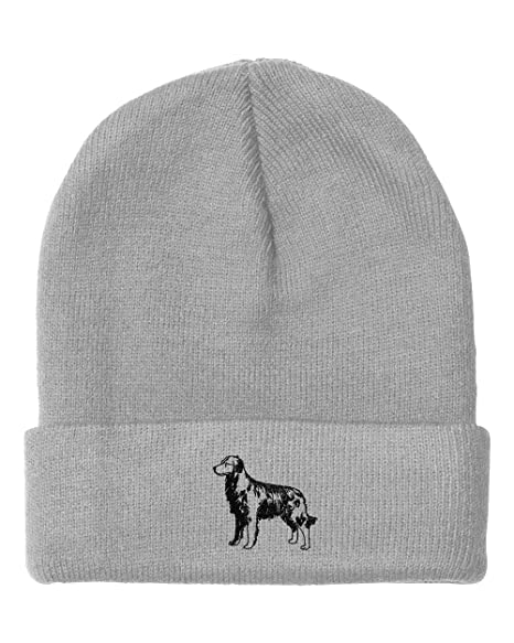 Golden Retriever Outline Embroidered Unisex Adult Acrylic Beanie Winter Hat  - Light Grey 0f74a75aba3