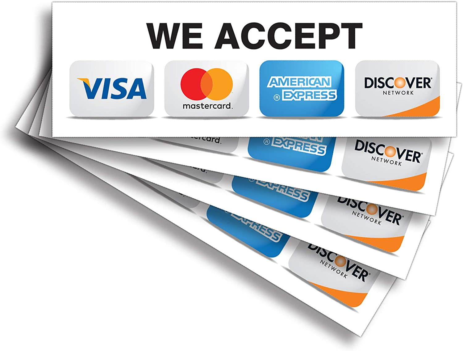 """Credit Card Sticker Signs Stickers – 4 Pack 9""""x 3"""" Inch - We Accept Visa, MasterCard, Amex & Discover, Premium Front Adhesive Vinyl to Apply Inside The Window or Glass Door for Stores Business"""