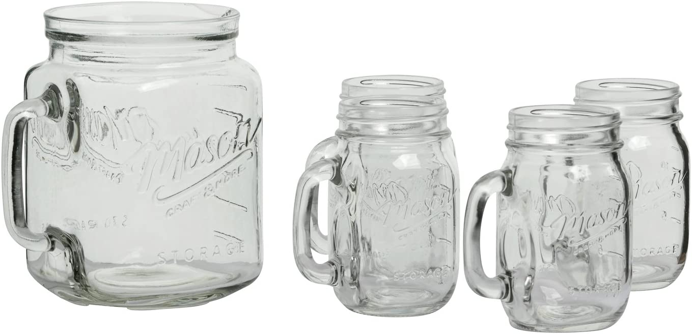 Mason Craft & More Drinkware Collection- Durable Glass Leak Proof Beverage Glassware, 5 Piece 0.5 Gallon Pitcher and Mug Set