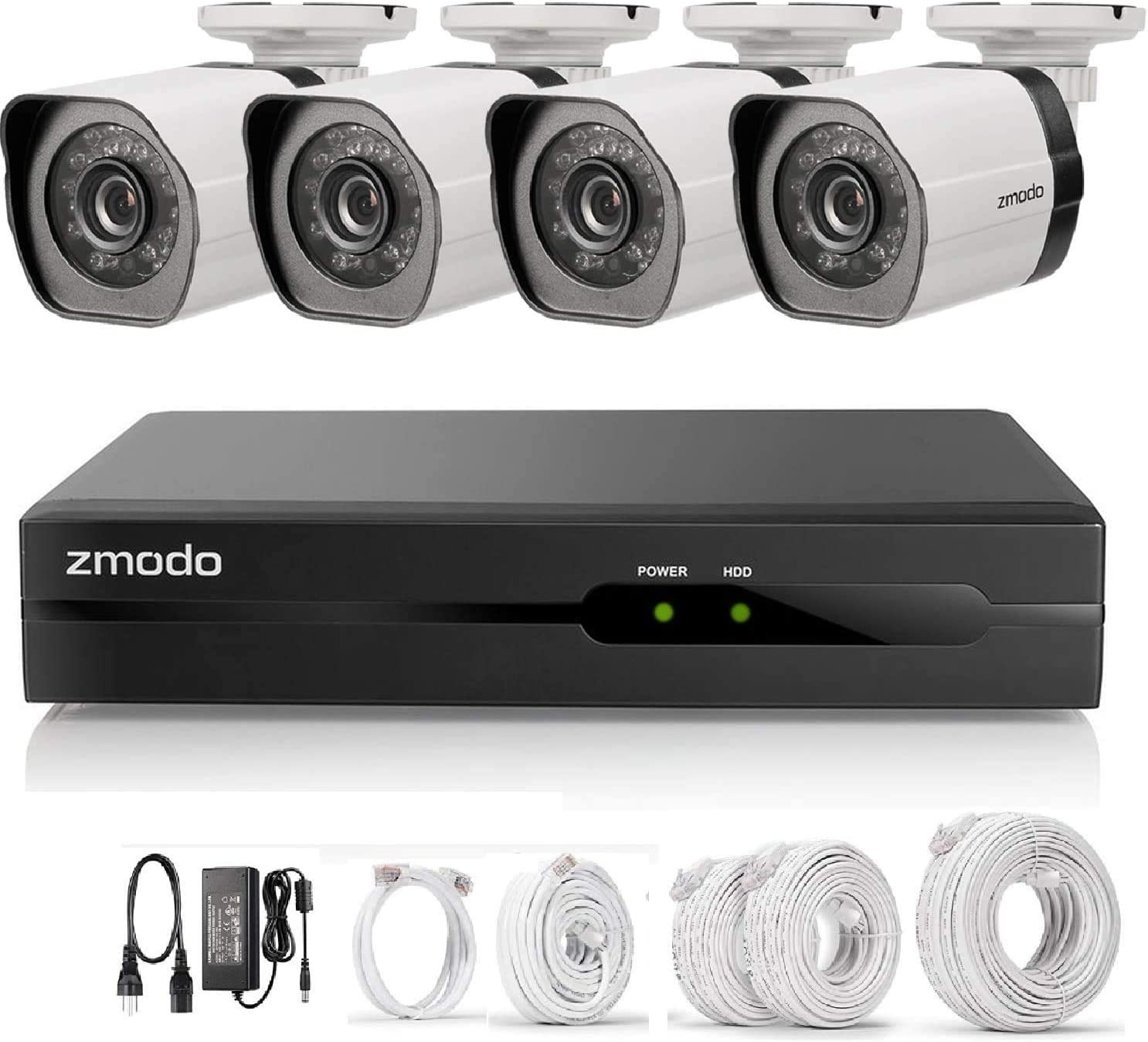 Zmodo 4 Channel 720p Simplified PoE Surveillance Camera System Intelligent Video Cloud Recorder 4 Outdoor and Indoor IP Cameras with Motion Detection, Night Vision