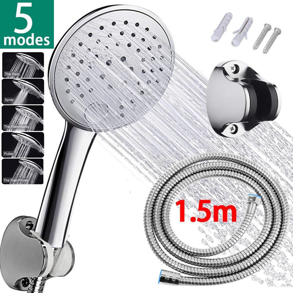 SunTop Duschkopf, Handbrause Duschkopf mit 1.5m Edelstahl - Schlauch Brauseschlauch, 5 verschiedenen Strahlfunktionen, Verchromte ABS, Hochdruck wassersparend Handbrause